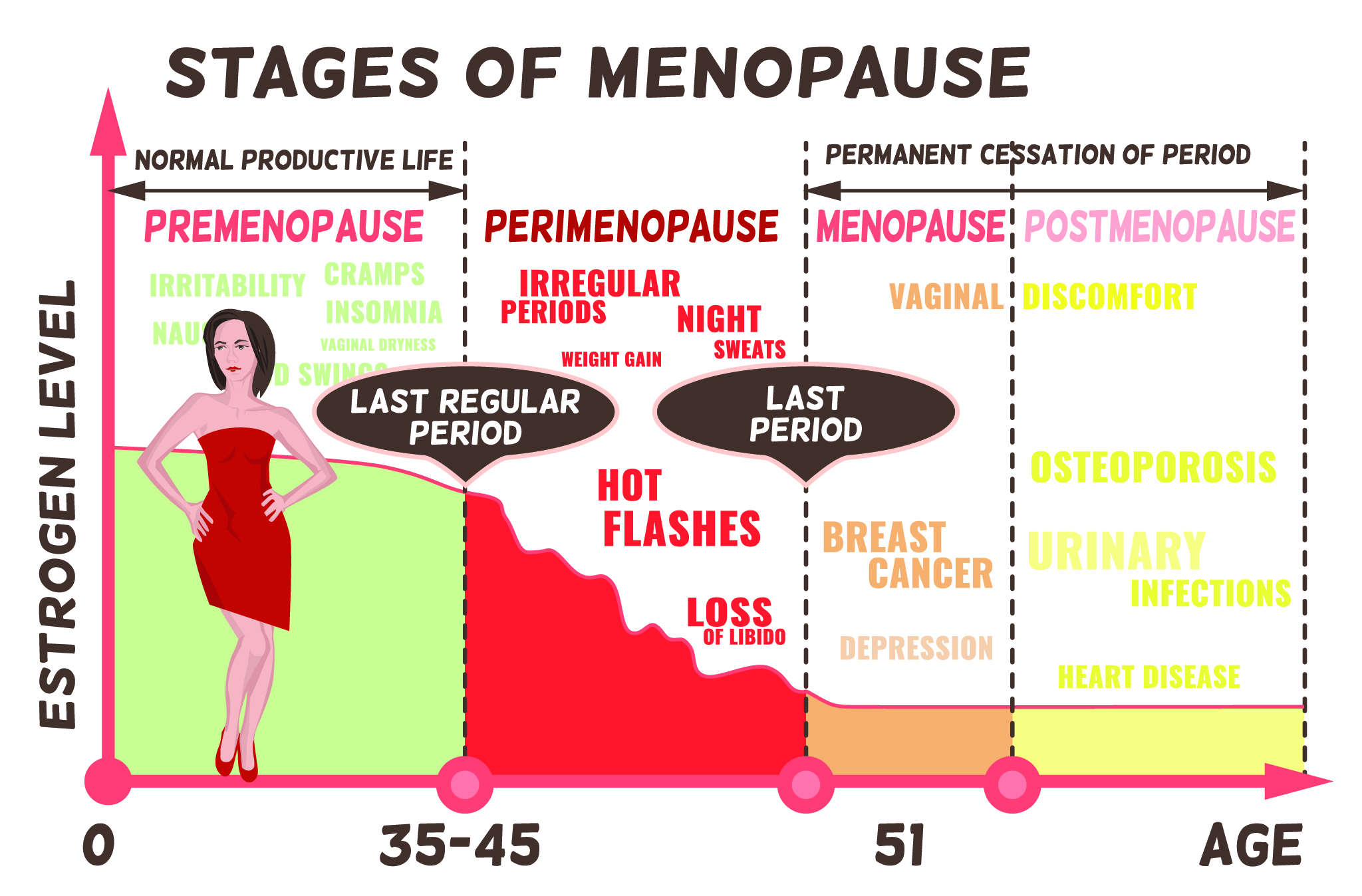 The Stages and symptoms of menopause